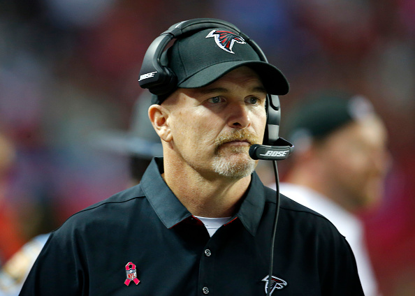 23 October 2016: Atlanta Falcons head coach Dan Quinn looks on in the San Diego Chargers 33-30 victory in overtime over the Atlanta Falcons at the Georgia Dome in Atlanta Georgia. (Photo by Todd Kirkland/Icon Sportswire via Getty Images)