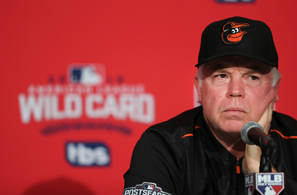 TORONTO, ON - OCTOBER, 3   Orioles manger Buck Showalter answers questions at a press conference. The Toronto Blue Jays and the Baltimore Orioles both had an optional workout at the Rogers Centre in Toronto prior to Tuesday's Wild Card game. October 3, 2016        (Richard Lautens/Toronto Star via Getty Images)