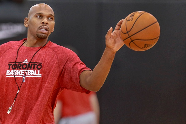TORONTO, ON - OCTOBER 20: Toronto Raptors' assistant coach Jerry Stackhouse works with guard Shannon Scott (11) at practice.  (Andrew Francis Wallace/Toronto Star via Getty Images)