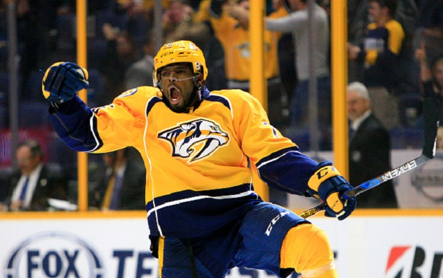 October 1, 2016: Nashville Predators defenseman P.K. Subban (76) celebrates his second period power play goal during the NHL preseason game between the Nashville Predators and the Tampa Bay Lightning, held at Bridgestone Arena in Nashville, Tennessee. (Photo by Danny Murphy/Icon Sportswire via Getty Images)