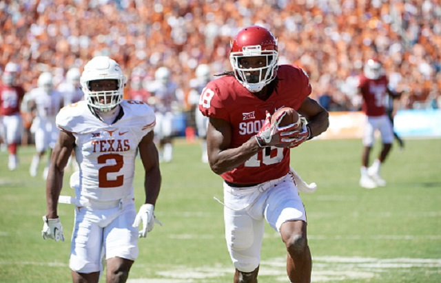 College Football: Oklahoma Dahu Green (18) in action vs Texas at Cotton Bowl. Dallas, TX 10/8/2016 CREDIT: Greg Nelson (Photo by Greg Nelson /Sports Illustrated/Getty Images)