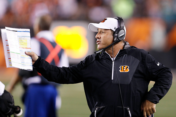 CINCINNATI, OH - SEPTEMBER 29: Offensive coordinator Ken Zampese of the Cincinnati Bengals reacts during the game against the Miami Dolphins at Paul Brown Stadium on September 29, 2016 in Cincinnati, Ohio. The Bengals defeated the Dolphins 22-7. (Photo by Joe Robbins/Getty Images)