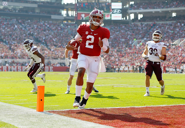 TUSCALOOSA, AL - NOVEMBER 12:  Jalen Hurts #2 of the Alabama Crimson Tide rushes for a touchdown against the Mississippi State Bulldogs at Bryant-Denny Stadium on November 12, 2016 in Tuscaloosa, Alabama.  (Photo by Kevin C. Cox/Getty Images)