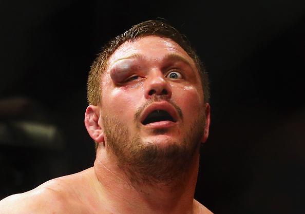 BOSTON, MA - JANUARY 17: Matt Mitrione reacts after his heavyweight bout against Travis Browne (not pictured) during UFC Fight Night 81 at TD Banknorth Garden on January 17, 2016 in Boston, Massachusetts. (Photo by Maddie Meyer/Getty Images)
