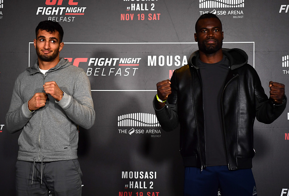 BELFAST, IRELAND - NOVEMBER 17:  (L-R) Gegard Mousasi of the Netherlands and Uriah Hall of the United States pose for a picture during the UFC Fight Night Ultimate Media Day at the SSE Arena on November 17, 2016 in Belfast, Ireland. (Photo by Brandon Magnus/Zuffa LLC/Zuffa LLC via Getty Images)