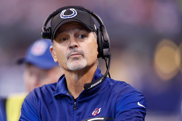 INDIANAPOLIS, IN - OCTOBER 30: Head coach Chuck Pagano of the Indianapolis Colts looks on against the Kansas City Chiefs during the game at Lucas Oil Stadium on October 30, 2016 in Indianapolis, Indiana. The Chiefs defeated the Colts 30-14. (Photo by Joe Robbins/Getty Images)