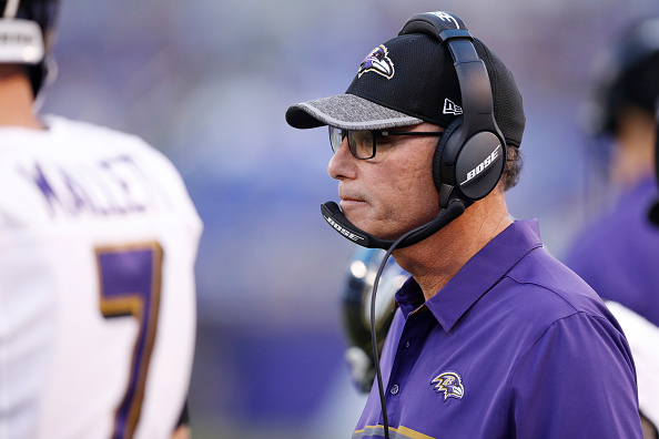 BALTIMORE, MD - AUGUST 11: Offensive coordinator Marc Trestman of the Baltimore Ravens looks on during a preseason NFL game against the Carolina Panthers at M&T Bank Stadium on August 11, 2016 in Baltimore, Maryland. The Ravens defeated the Panthers 22-19. (Photo by Joe Robbins/Getty Images)