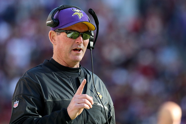 LANDOVER, MD - NOVEMBER 13: Head coach Mike Zimmer of the Minnesota Vikings looks on against the Washington Redskins in the second quarter at FedExField on November 13, 2016 in Landover, Maryland. (Photo by Rob Carr/Getty Images)