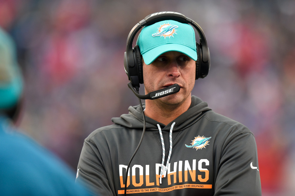 ORCHARD PARK, NY - DECEMBER 24:  Head coach Adam Gase of the Miami Dolphins works the sidelines against the Buffalo Bills during the first half at New Era Stadium on December 24, 2016 in Orchard Park, New York.  (Photo by Rich Barnes/Getty Images)