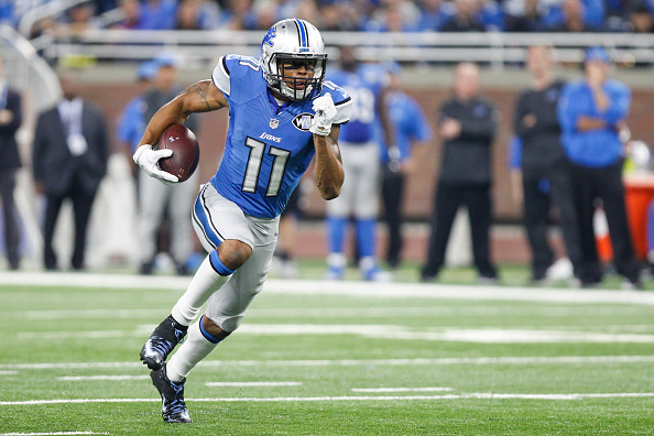 October 16, 2016:  Detroit Lions wide receiver Marvin Jones Jr.  (11) runs with the ball after catching a pass during game action between the Los Angeles Rams and the Detroit Lions during a regular season game played at Ford Field in Detroit, Michigan.   (Photo by Scott W. Grau/Icon Sportswire via Getty Images)
