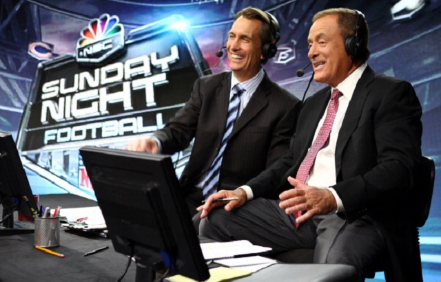 NBC SUNDAY NIGHT FOOTBALL -- Pictured: (l-r) Cris Collinsworth, Al Michaels  (Photo by Justin Lubin/NBC/NBCU Photo Bank via Getty Images)