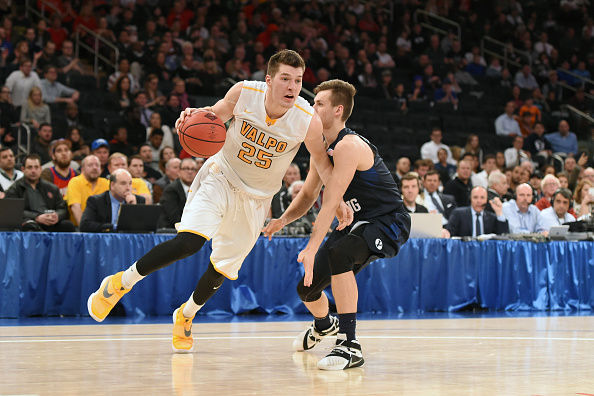 NEW YORK, NY - MARCH 29:  Alec Peters #25 of the Valparaiso Crusaders dribbles the ball during the NIT Semi-Final Championship game against the Brigham Young Cougars at Madison Square Garden on March 29, 2016 in New York City.  The Crusaders won 72-70.  (Photo by Mitchell Layton/Getty Images)