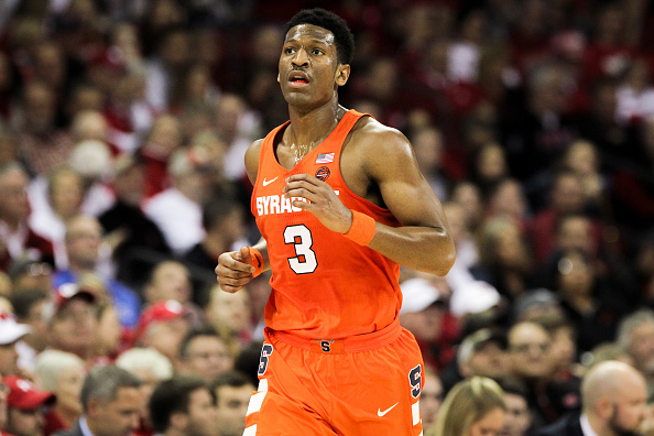 MADISON, WI - NOVEMBER 29:  Andrew White III #3 of the Syracuse Orange jogs down the court in the first half against the Wisconsin Badgers at the Kohl Center on November 29, 2016 in Madison, Wisconsin. (Photo by Dylan Buell/Getty Images) *** Local Caption *** Andrew White III