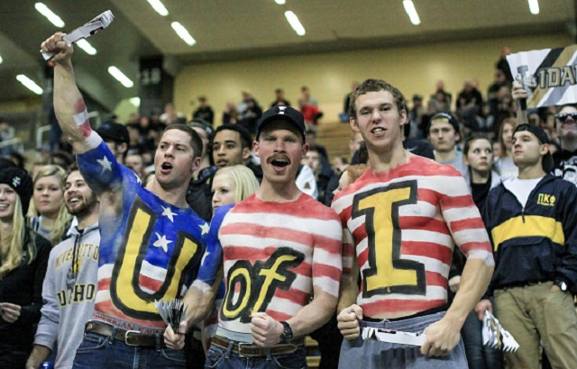 01 November 2014: Patriotic Idaho Vandal fans during 1st half NCAA football action between the Arkansas State Red Wolves and the Idaho Vandals at the Kibbie Dome in Moscow ID. (Photo by Loren Orr/Icon Sportswire/Corbis via Getty Images)