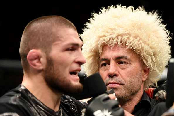 NEW YORK, NY - NOVEMBER 12: Khabib Nurmagomedov of Russia is interviewed after his KO victory over Michael Johnson of the United States (not pictured) in their lightweight bout during the UFC 205 event at Madison Square Garden on November 12, 2016 in New York City. (Photo by Jeff Bottari/Zuffa LLC/Zuffa LLC via Getty Images)