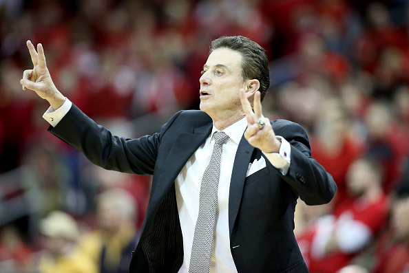 LOUISVILLE, KY - MARCH 01: Rick Pitino the head coach of the Louisville Cardinals gives instructions to his team during the game against the Georgia Tech Yellow Jackets at KFC YUM! Center on March 1, 2016 in Louisville, Kentucky. (Photo by Andy Lyons/Getty Images)