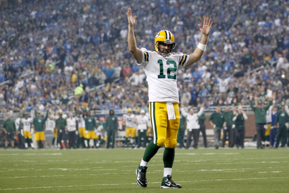 DETROIT, MI - NOVEMBER 24:  Quarterback Aaron Rodgers #12 of the Green Bay Packers reacts in the third quarter against the Detroit Lions during the Thanksgiving Day game at Ford Field on November 24, 2011 in Detroit, Michigan.  (Photo by Gregory Shamus/Getty Images)
