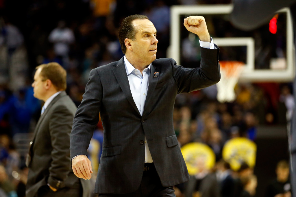 CLEVELAND, OH - MARCH 26:  Head coach Mike Brey of the Notre Dame Fighting Irish reacts after defeating the Wichita State Shockers during the Midwest Regional semifinal of the 2015 NCAA Men's Basketball Tournament at Quicken Loans Arena on March 26, 2015 in Cleveland, Ohio.  (Photo by Gregory Shamus/Getty Images)
