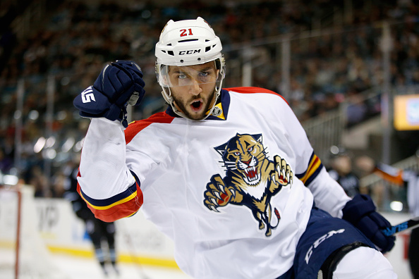 SAN JOSE, CA - NOVEMBER 05:  Vincent Trocheck #21 of the Florida Panthers celebrates after he scored a goal against the San Jose Sharks in the first period at SAP Center on November 5, 2015 in San Jose, California.  (Photo by Ezra Shaw/Getty Images)