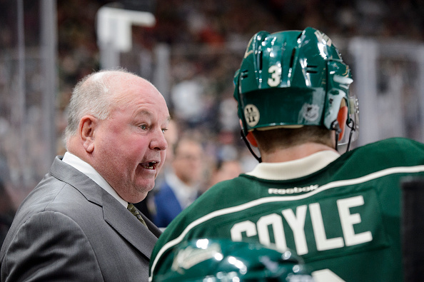 ST PAUL, MN - OCTOBER 15: Head coach Bruce Boudreau of the Minnesota Wild speaks with Charlie Coyle #3 on the bench during the game against Winnipeg Jets on October 15, 2016 at Xcel Energy Center in St Paul, Minnesota. (Photo by Hannah Foslien/Getty Images)
