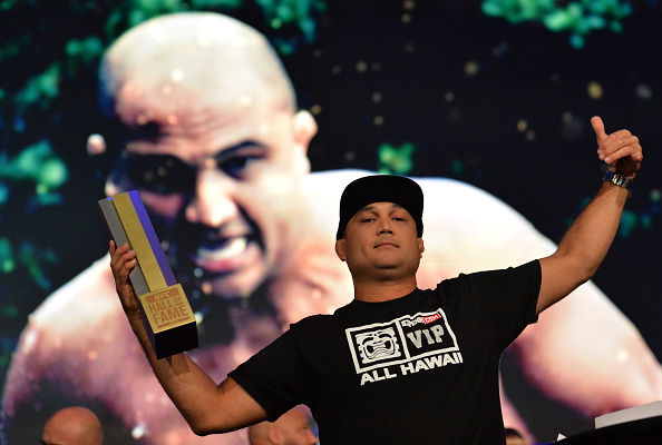 LAS VEGAS, NEVADA - JULY 11:   BJ Penn receives his award as he is inducted into the UFC Hall of Fame at the UFC Fan Expo in the Sands Expo and Convention Center on July 11, 2015 in Las Vegas Nevada. (Photo by Brandon Magnus/Zuffa LLC/Zuffa LLC via Getty Images)