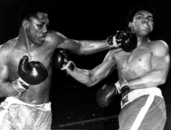 NEW YORK, NY - MARCH 8:  Joe Frazier lands a punch on Muhammad Ali during their heavyweigh fight in Madison Square Garden on March 8, 1971 in New York City.  Frazier defeated Ali in 15 rounds.  (Photo by B Bennett/Getty Images)