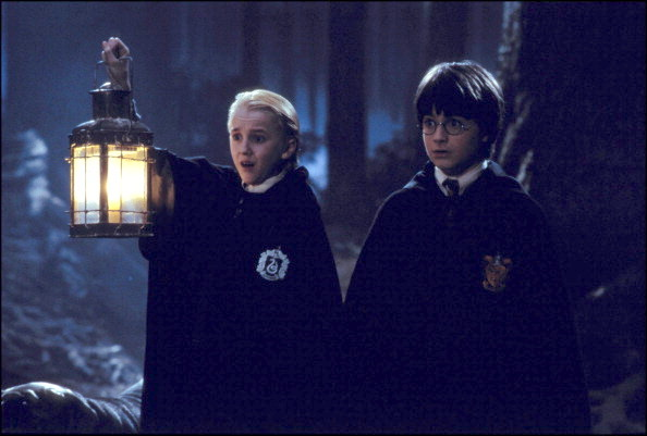 "UNITED STATES - NOVEMBER 01:  Film ""Harry Potter and the philosopher's stone"" In United States In November, 2001-Draco Malfoy (Tom Felton) Harry Potter.  (Photo by 7831/Gamma-Rapho via Getty Images)"