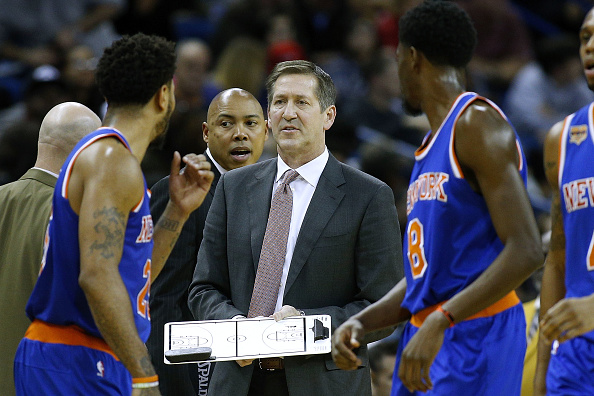 NEW ORLEANS, LA - DECEMBER 30:  Jeff Hornacek of the New York Knicks reacts during a game against the New Orleans Pelicans at the Smoothie King Center on December 30, 2016 in New Orleans, Louisiana. (Photo by Jonathan Bachman/Getty Images)