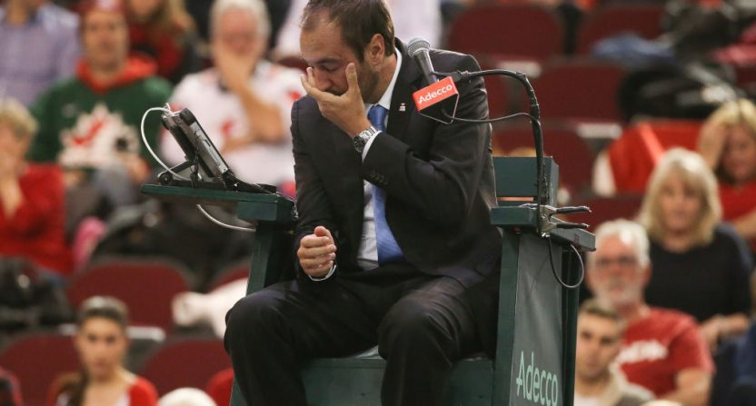 Davis Cup umpire Arnaud Gabas hit in face