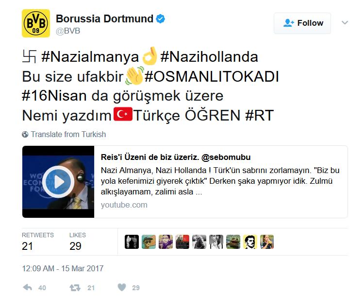 Borussia Dortmund Nazi tweet
