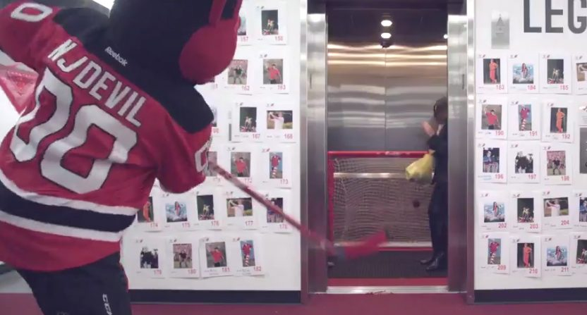 new arrival b2117 26d86 New Jersey Devils mascot ambushes employees with elevator prank