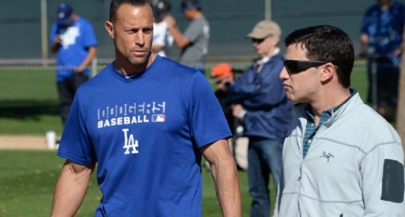 Gabe Kapler (L) during his time with the Dodgers, with president of baseball operations Andrew Friedman.