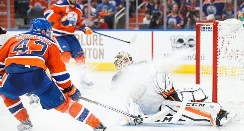 The Oilers' Anton Slepyshev scores on the Ducks.