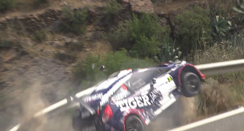Tomas Kasperczyk's rally car crashed into a guardrail and almost went off a cliff.