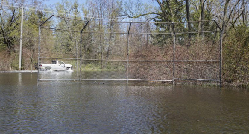 Toronto Centre Island's flooded baseball diamond. (Bernard Weil/Toronto Star.)