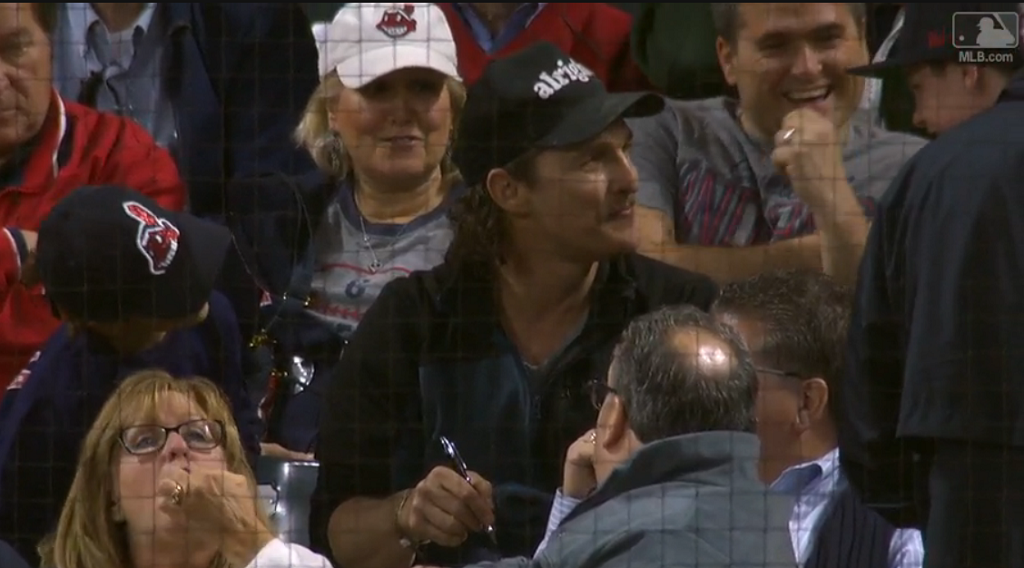 Actor attends baseball game, knows movie line he's famous for