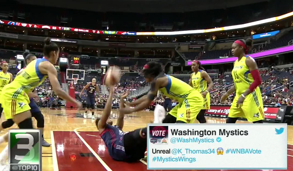 Krystal Thomas hits a seated shot.