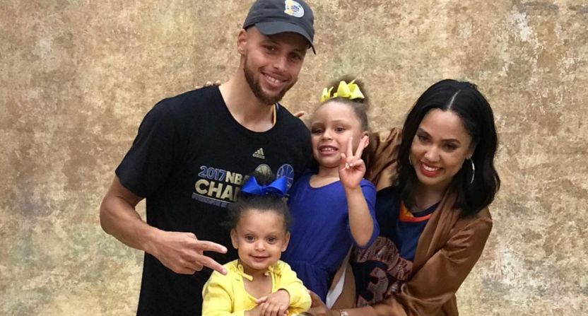 cheap for discount a7d4a 3804a Steph Curry and family pose with championship trophy in adorable photos