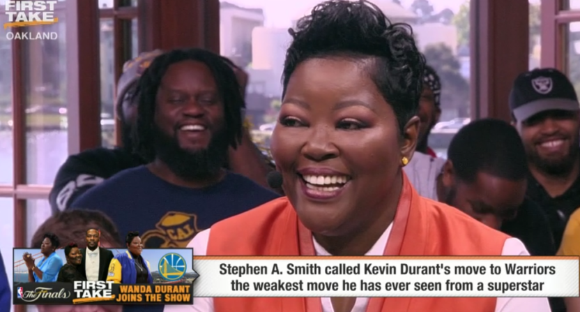 813c476af1e4 Kevin Durant s mom on First Take
