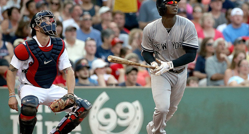 Didi Gregorius with a home run in September 2015. He hit an extremely short home run Sunday.