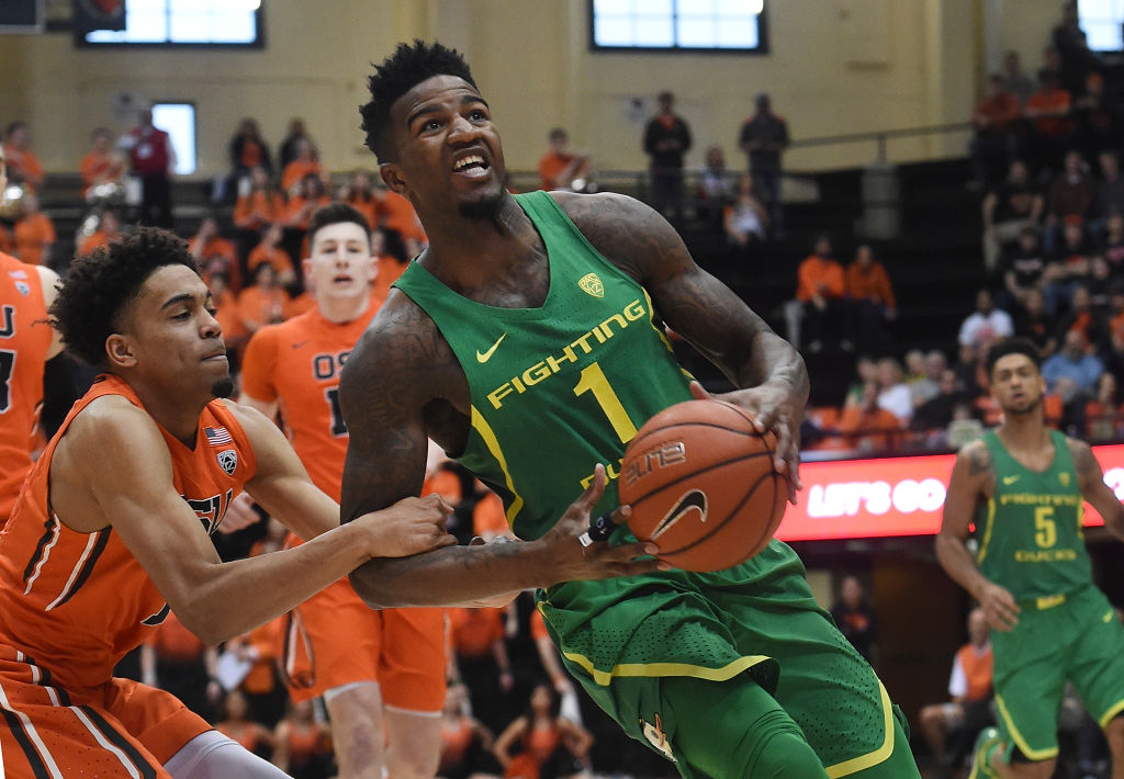 Jordan Bell wore #1 with Oregon, not the #5 jersey someone's trying to sell.
