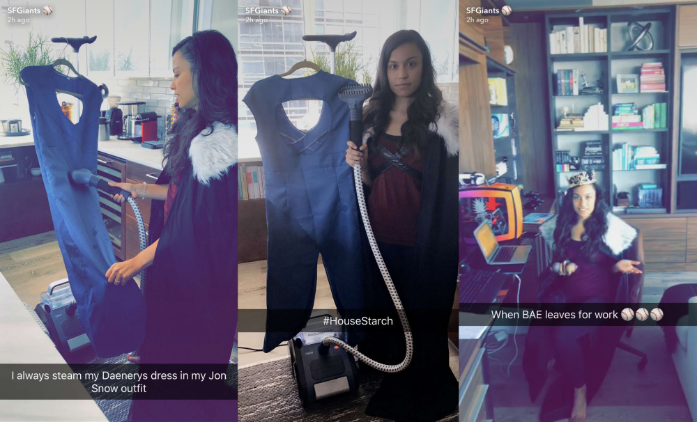 Alexis Pence used a Jon Snow costume to prepare her Daenerys costume.