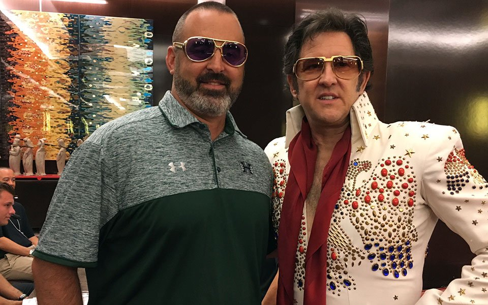 Nick Rolovich and Elvis impersonator