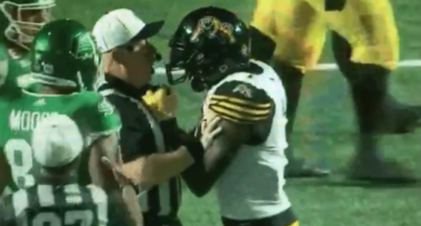 Hamilton DB Will Hill III grabbed an official and was thrown out of a CFL game Saturday.