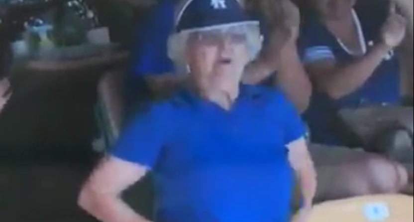 This woman flashed the video board at Dodger Stadium Saturday.