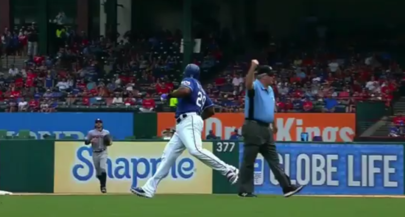 Adrian Beltre's venture off the beaten path still led to an out call.