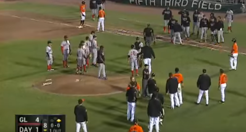 A walk Friday that ended Jose Siri's hitting streak led to the benches clearing.