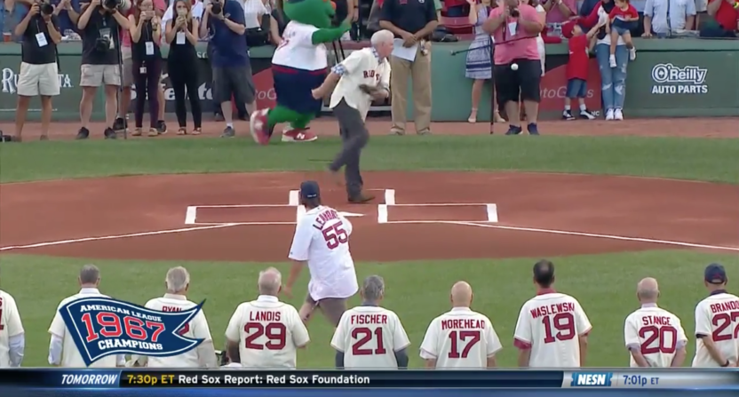 Red Sox photographer hit in the balls
