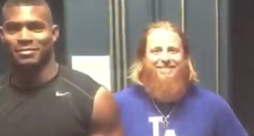 Yasiel Puig and Justin Turner of the Dodgers had quite the eclipse recreation Monday.