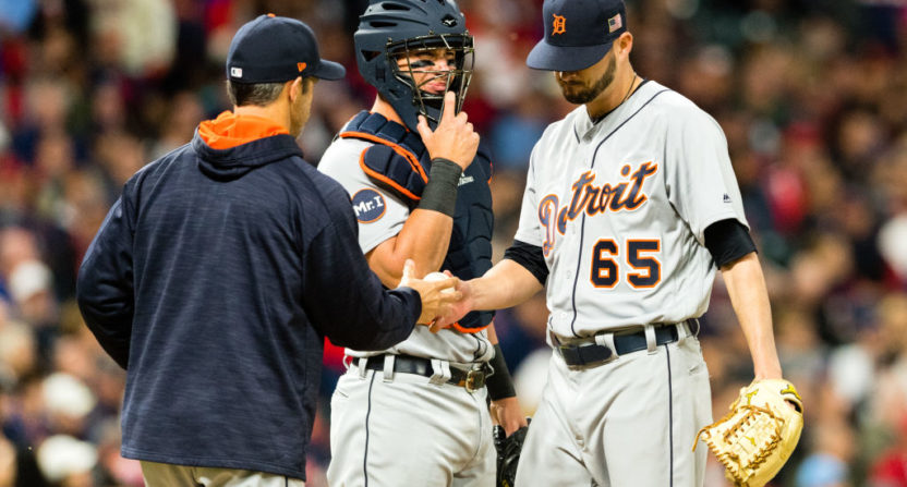 After Detroit manager Brad Ausmus was tossed, the ump got hit, but the Tigers said that wasn't intentional.